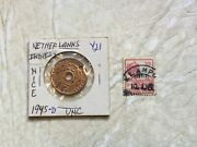1945 1 Cent Netherlands Indies Holed Coin Stamp Netherlands Indies 1912 10c Lot
