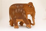 10 Inches Handmade Elephant Figurine Statue And Baby In Tummy Hand Carved Wooden