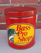 Bass Pro Shops Tin Store Advertising Vintage Tackle Fishing Big Mouth Can