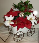 Holiday Floral White Metal Wagon Christmas Winter Decoration Table Silk Flowers