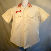 Vtg Mark Twain Red/white Delivery Bowling Shirt W/large Budweiser Patch Sz Med