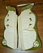 Cowboy Rodeo Pick Up Man Chaps Padded Green Leather Brand Vtg Batwing Handmade