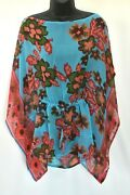 Antica Sartoria Aqua Pink And White Cover Up/top/beautiful Colors One Size Nwt