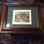 Pair Framed English Fox Hunting Antique Prints, Pub. 1800, Painted By G. Morland