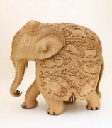 11 Inches Large Handmade Elephant Statue Hand Carved Wooden Showpiece Figurine