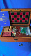 F. H. Ayres Vintage Victorian Era Wooden Game Box With Chess, Checkers, Dominoes