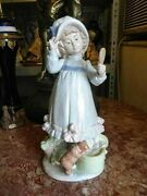Vintage Spanish Nadal Lladró Style Porcelain Figurine, Young Girl With Mirror.