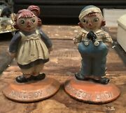 Rare 1931 Pf Volland Raggedy Ann And Andy Cast Iron Bookends