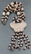Rose Quartz, Garnet And Freshwater Pearl Womens Necklace Fine Statement Jewellery