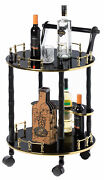 Round Wood Serving Bar Cart Tea Trolley With 2 Tier Shelves And Rolling Wheels