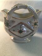 Thames Ceramic Hand Painted Opalescent Bamboo Handled Planter Japan Vintage