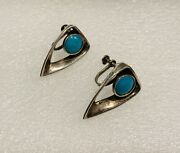 Vintage Rancho Alegre Miguel Mexican Sterling Silver Turquoise Earrings Taxco