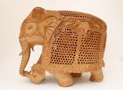 10 Inches Large Elephant Figurine Statue And Baby In Tummy Hand Carved Wooden
