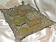 Vintage Inkwell Bronze Dual Inkwells Pen Holder Tray Footed Rocco Style