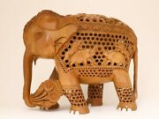 8 Inches Hand Carved Elephant Figurine Statue And Baby In Tummy Wooden Decor