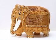 15 Large Rare Elephant Figurine Statue And Baby In Tummy Hand Carved Wooden