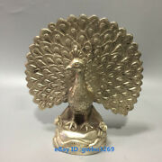 X36 Collect China Old Tibetan Silver Handwork Carved Peacock Open Screen Statues