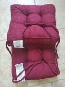 Chair Pads Cushions 2 Pk Plush Chenille Whitley Willows Soft15x15.75 Nob Red