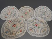 Lot Of 5 French France Beauvais Floral And Rose Embroidery Lace Doilies Ca 20th C.