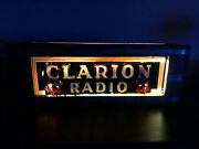 Art Deco Clarion Radio Lighted Reverse Glass Painted Advertising Sign C.1945