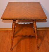 Vintage Antique 2 Tier Side Parlor Table With Turned Legs