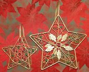 Two Metal Wire Sparkly Gold Baskets Leaves Star Christmas Beaded Glitter