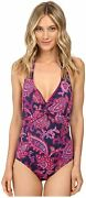 Tommy Bahama Jacobean Floral Twist-front Halter One-piece Orchid Pink Size 12