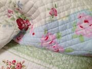 Shabby Cottage Chic Beach House Vintage Pink Roses Patchwork King Quilt And Sham
