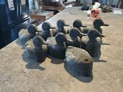 9 Early 1900and039s Antique Carved Cork Duck Decoys Wood Head Glass Eye