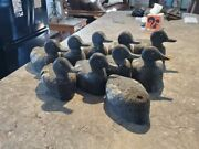 9 Early 1900's Antique Carved Cork Duck Decoys Wood Head Glass Eye