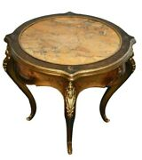 Antique Round Marble Top French Style Hand Painted Accent Table W/brass Ormolu