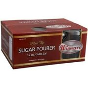 Winco G-302, 12-ounce Glass Sugar Pourer With Flap Stainless Steel Top New 1 Dz