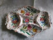 Italy Hand Painted Vintage Appetizer Antipasti 5 Compartment Serving Tray 18x13