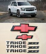 8pcs 2015-2020 Chevrolet Tahoe Black Red Bowtie Emblems Front And Rear Z71