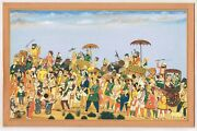 Hand Painted Sikh Miniature Painting Royal Procession Art Of Maharaja Sher Singh
