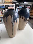 Very Rare Pair Of Early 20th Century Art Vases By French Potter Lucien Arnaud