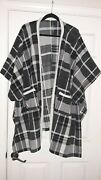 Cuddl Duds S/m Plaid Open Front Short Sleeve Poncho Sweater Cape Coat