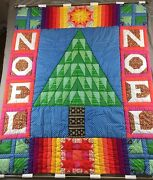 """Handmade Christmas Quilt Noel Holiday Decor Wall Mount Large 60""""x40"""" Wow"""