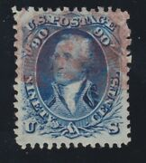 Us 101 90c Washington Used And039fand039 Grill W/ Red Grill Cancel And Pf Cert Vf Scv 2550