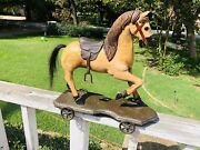 Antique Primitive Wooden Horse Childs Pull Toy