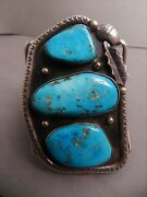 Huge Vintage Navajo Sterling And Bisbee Turquoise Cuff Bracelet,signed Jb And Arrow