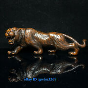 V98 Collect Old China Boxwood Wood Handwork Carved Tiger Statues Ornaments