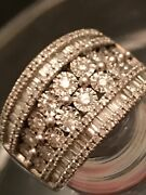 Estate 2.00 Cts Diamond Wide Eternity Band Ring 8 Rows Rounds And Baguettes Rare