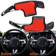 Real Carbon Fiber Steering Gear Shift Paddle Extension For 15-20 Mustang