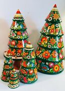 Hand Carved Painted Wooden Christmas Trees Gorgeous Collectible Unusual Item