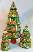 Hand Carved Painted Wooden Christmas Trees Collectible Gorgeous Wooden Tree
