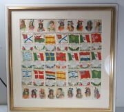 Antique Silk Cigarette Tobacco Tags - Indian Chiefs And Flags - Framed And Matted