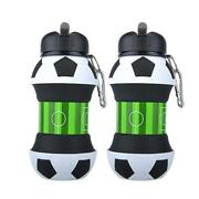 Football Sports Water Bottle With Straw Plastic Leak Proof Foldable Drinking 550
