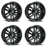 Set 4 22 Fuel Sledge D595 Black Milled Wheels 22x9.5 8x180 20mm For Chevy Gmc