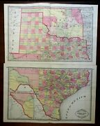 Texas And Oklahoma Indian Country 1885 Tunison Scarce Huge Two Sheet Map